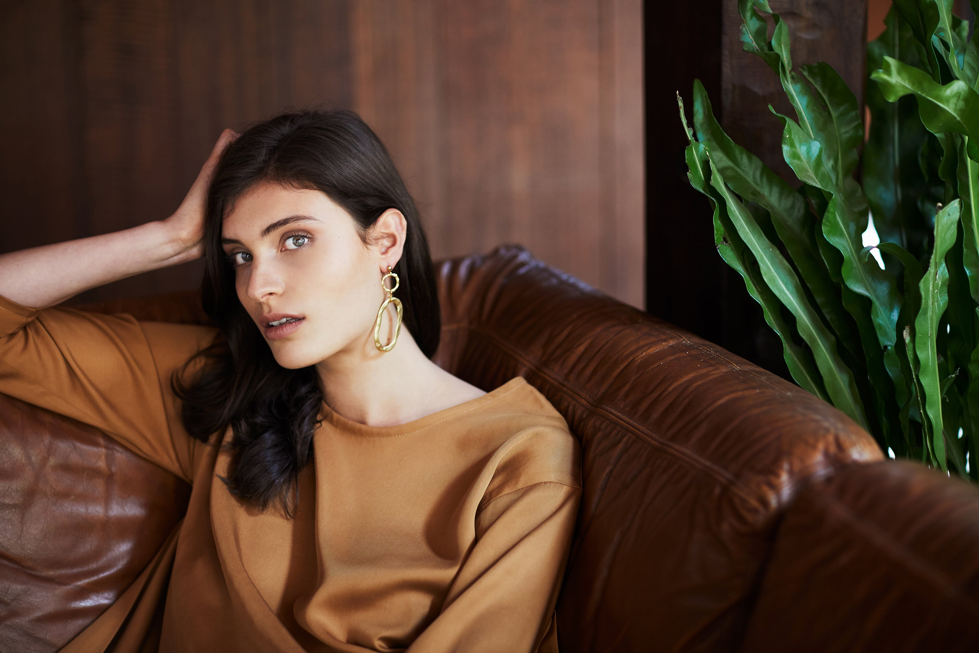 keegan AW19 Woodland Campaign Ethical Fashion Made in Melbourne Australia Mustard Top on Sofa