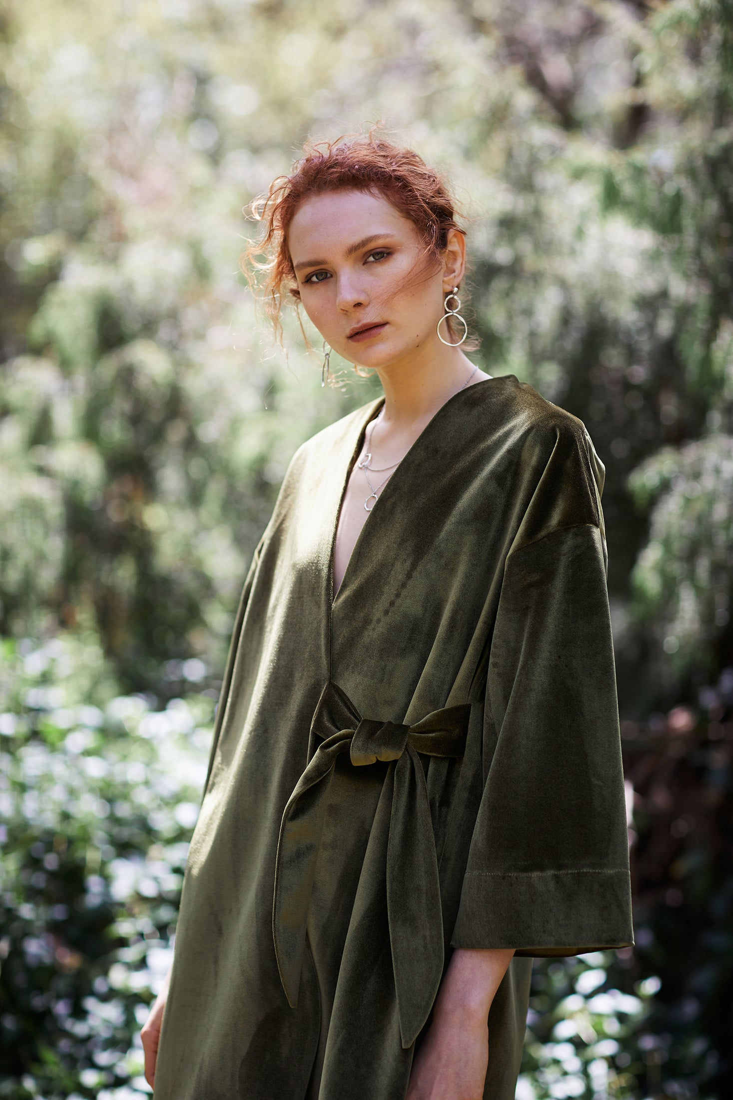 keegan AW19 Woodland Campaign Ethical Fashion Made in Melbourne Australia Green Velvet Jacket Bushland