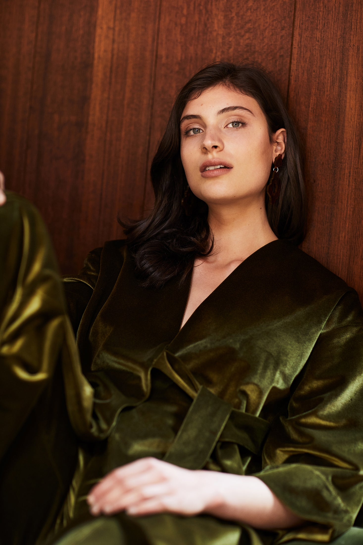 keegan AW19 Woodland Campaign Ethical Fashion Made in Melbourne Australia Green Velvet Coat Jacket