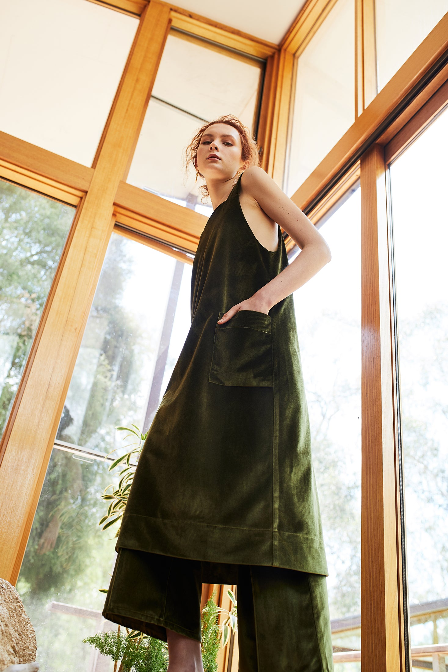 keegan AW19 Woodland Campaign Ethical Fashion Made in Melbourne Australia Green Velvet Pinafore Dress