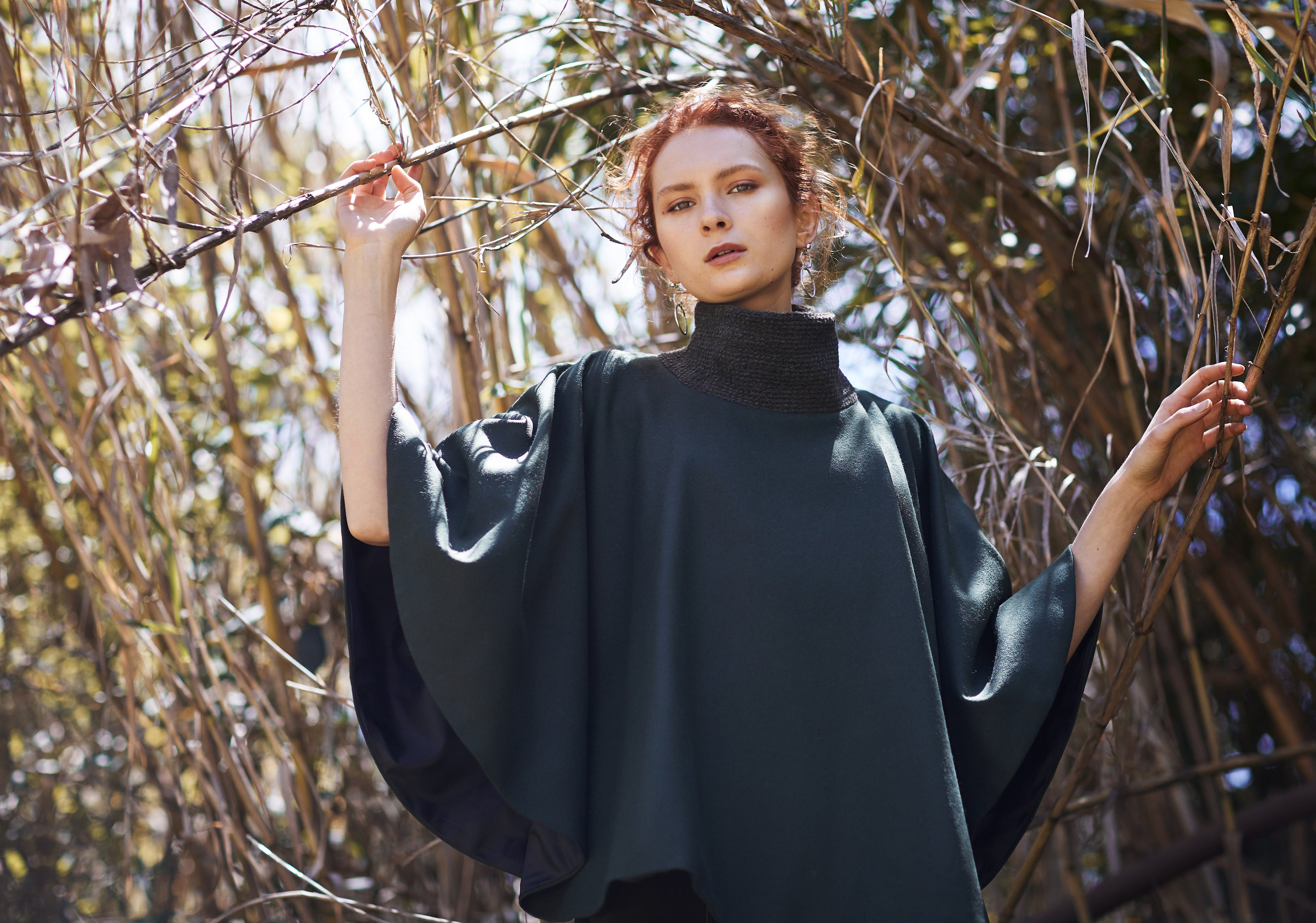 keegan AW19 Woodland Campaign Ethical Fashion Made in Melbourne Australia Green Olive Cape Wool Bamboo
