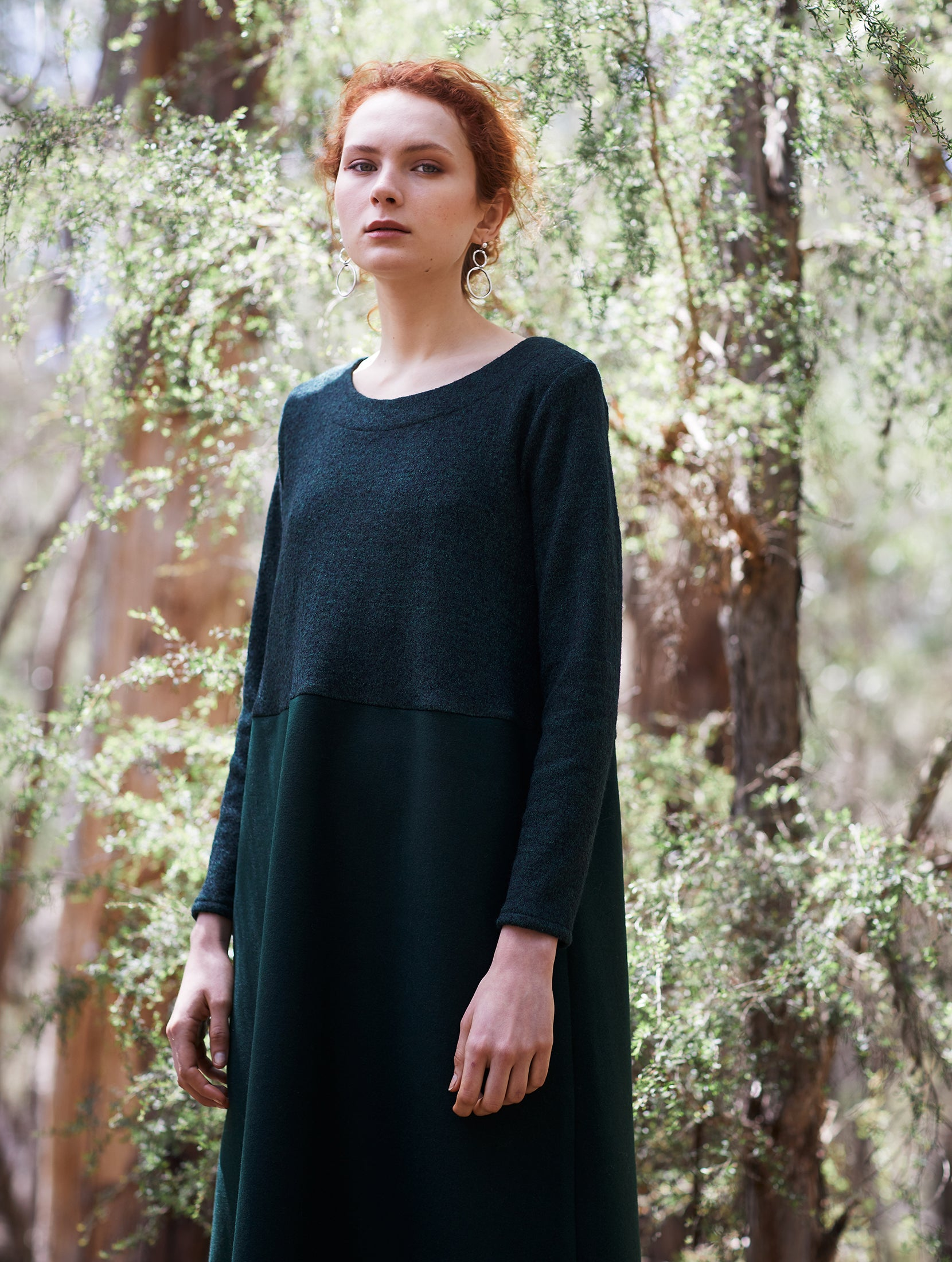 keegan AW19 Woodland Campaign Ethical Fashion Made in Melbourne Australia Green Wool Dress