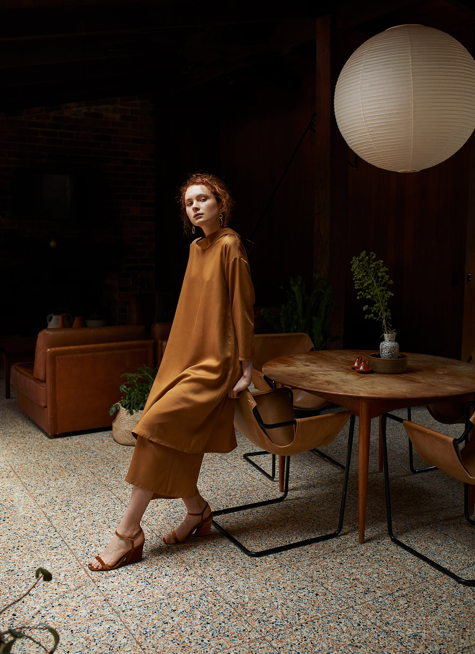 keegan AW19 Woodland Campaign Ethical Fashion Made in Melbourne Australia Mustard Dress Alistair Knox