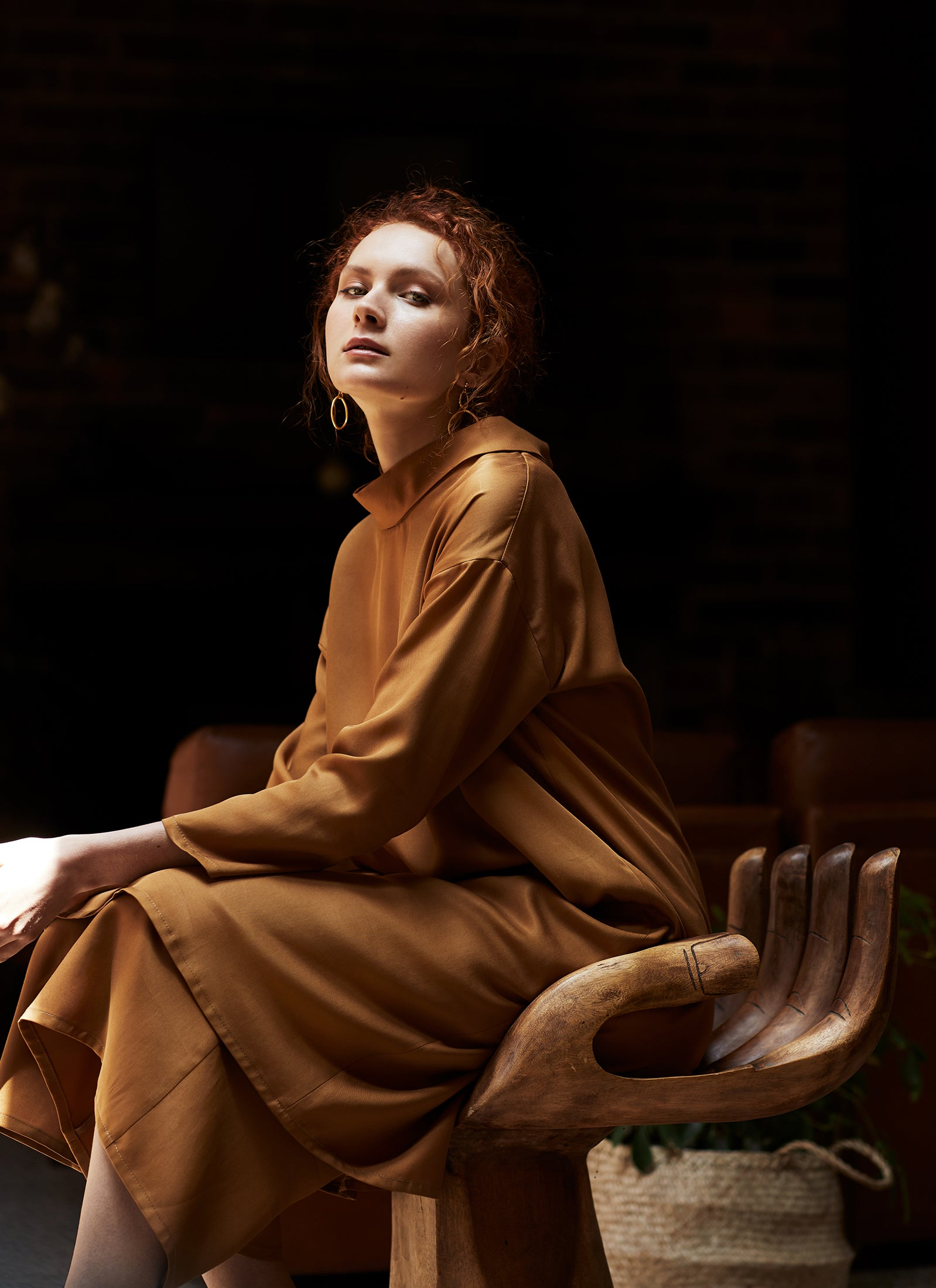 keegan AW19 Woodland Campaign Ethical Fashion Made in Melbourne Australia Mustard Gold Dress Hand Chair