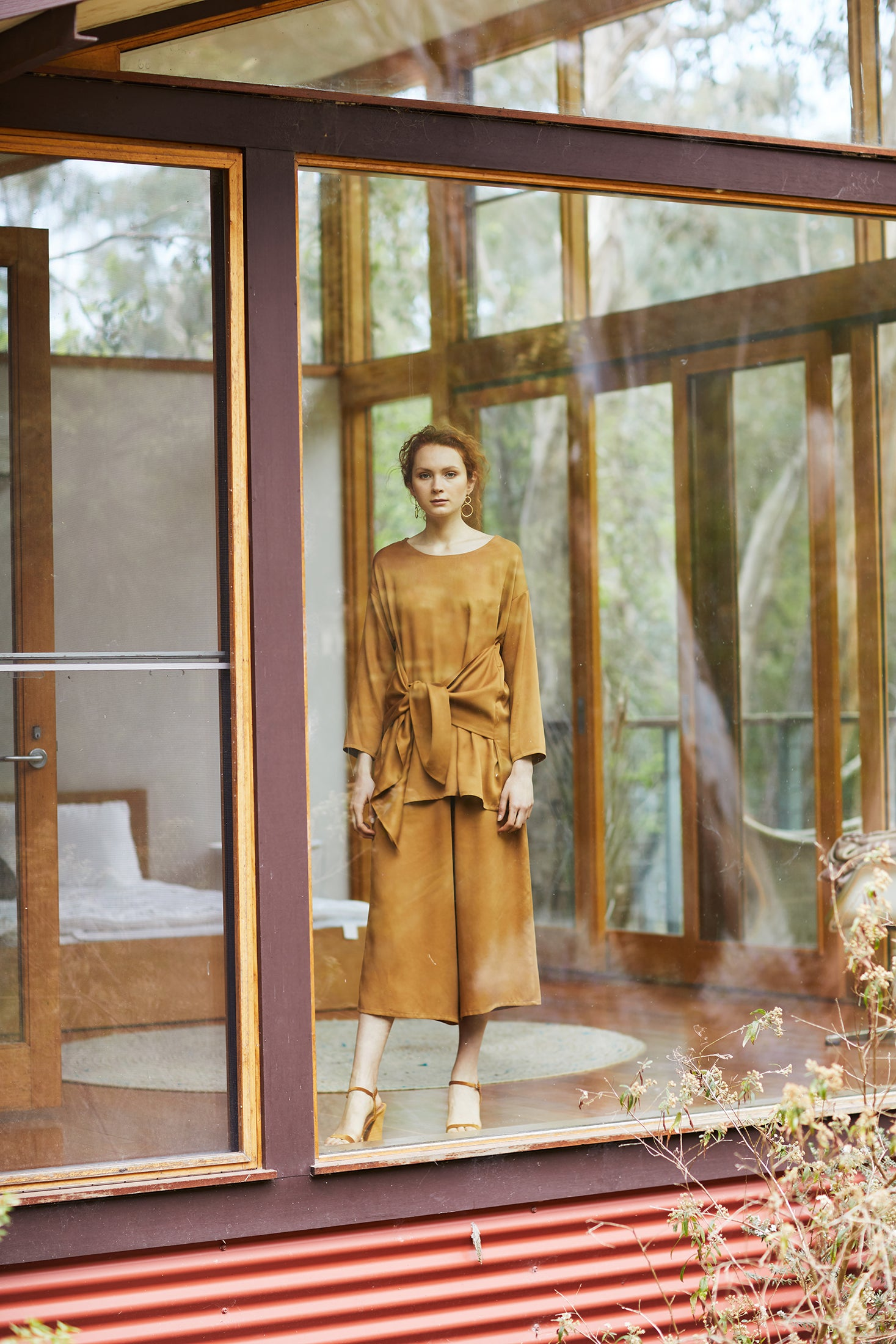 keegan AW19 Woodland Campaign Ethical Fashion Made in Melbourne Australia Mustard Gold Glass House