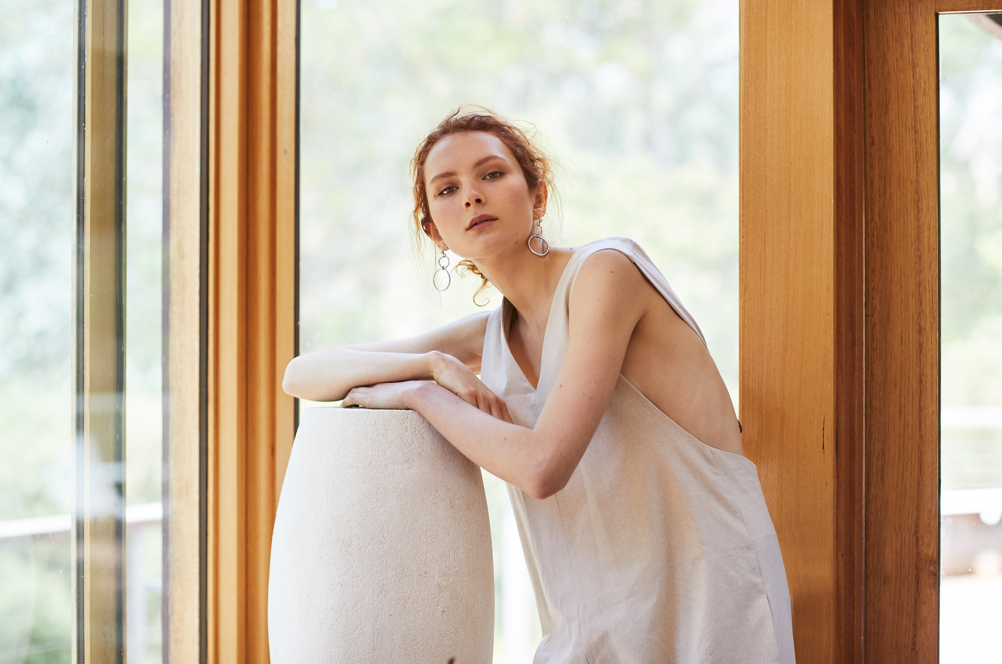 keegan AW19 Woodland Campaign Ethical Fashion Made in Melbourne Australia Cream Linen Jumpsuit Limestone Sculpture