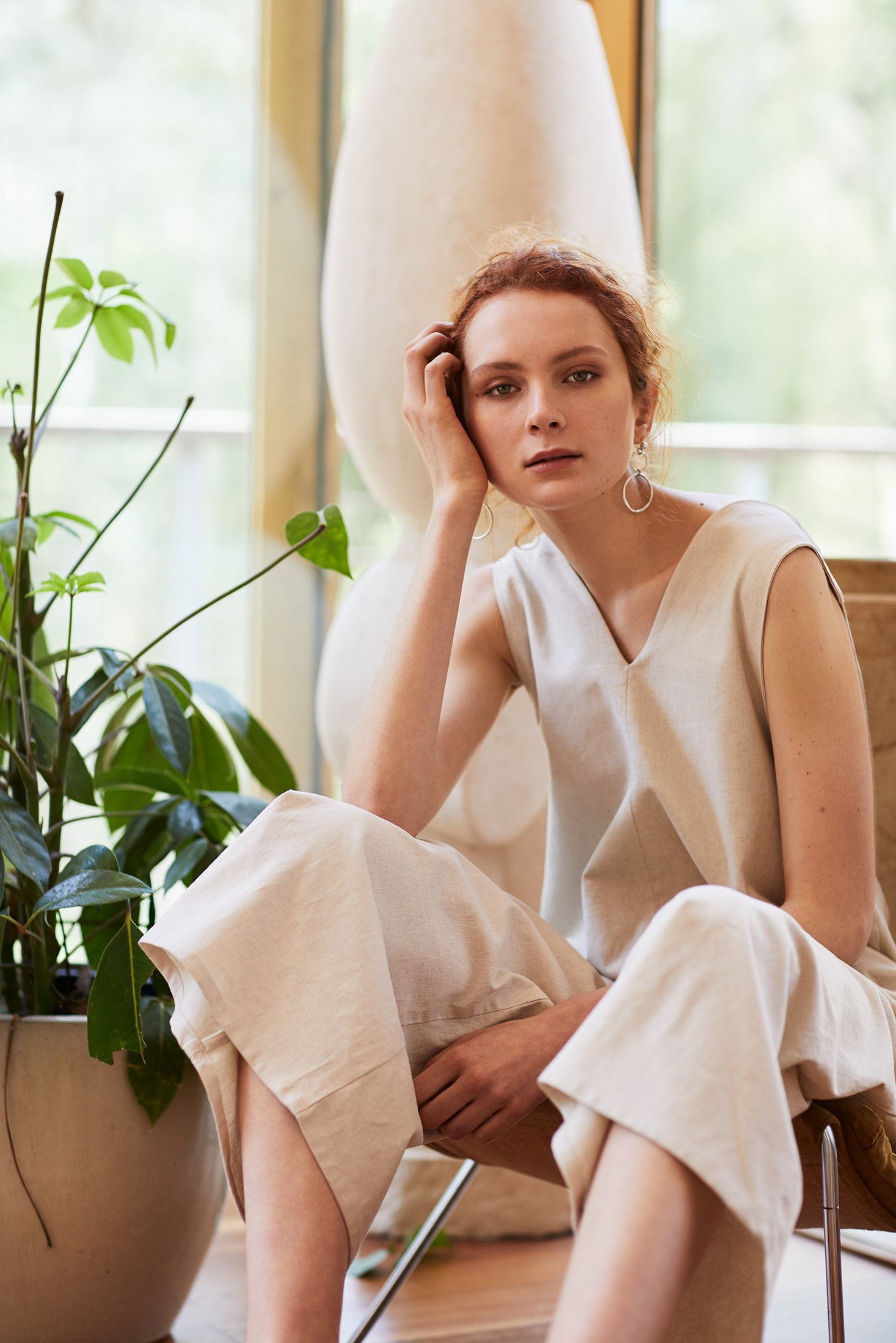 keegan AW19 Woodland Campaign Ethical Fashion Made in Melbourne Australia Cream Linen Jumpsuit