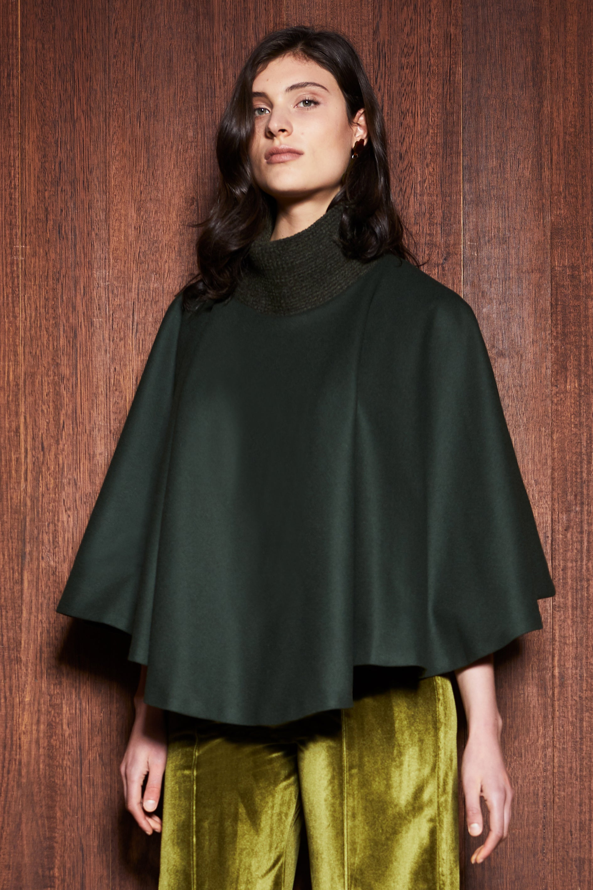 Women's Clothing in Melbourne Australia Fern Cape Olive Green Wool Collar Poncho