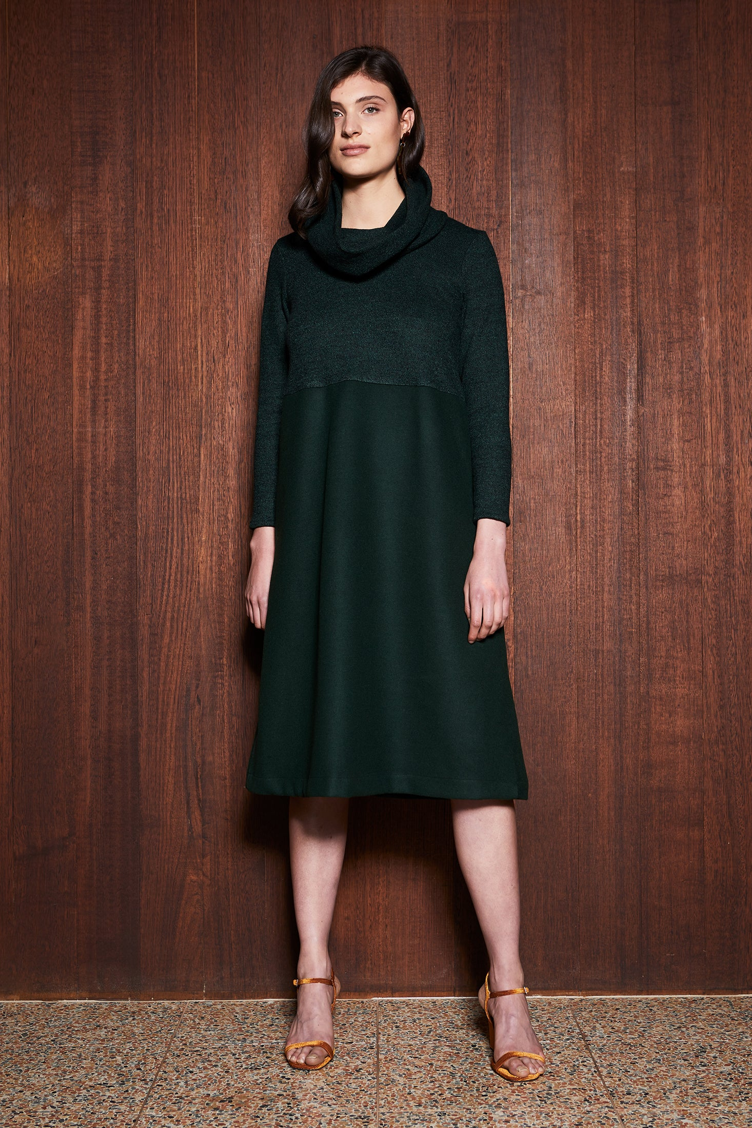 keegan Australian made Women's Clothing in Melbourne Australia Fern Dress Green Wool