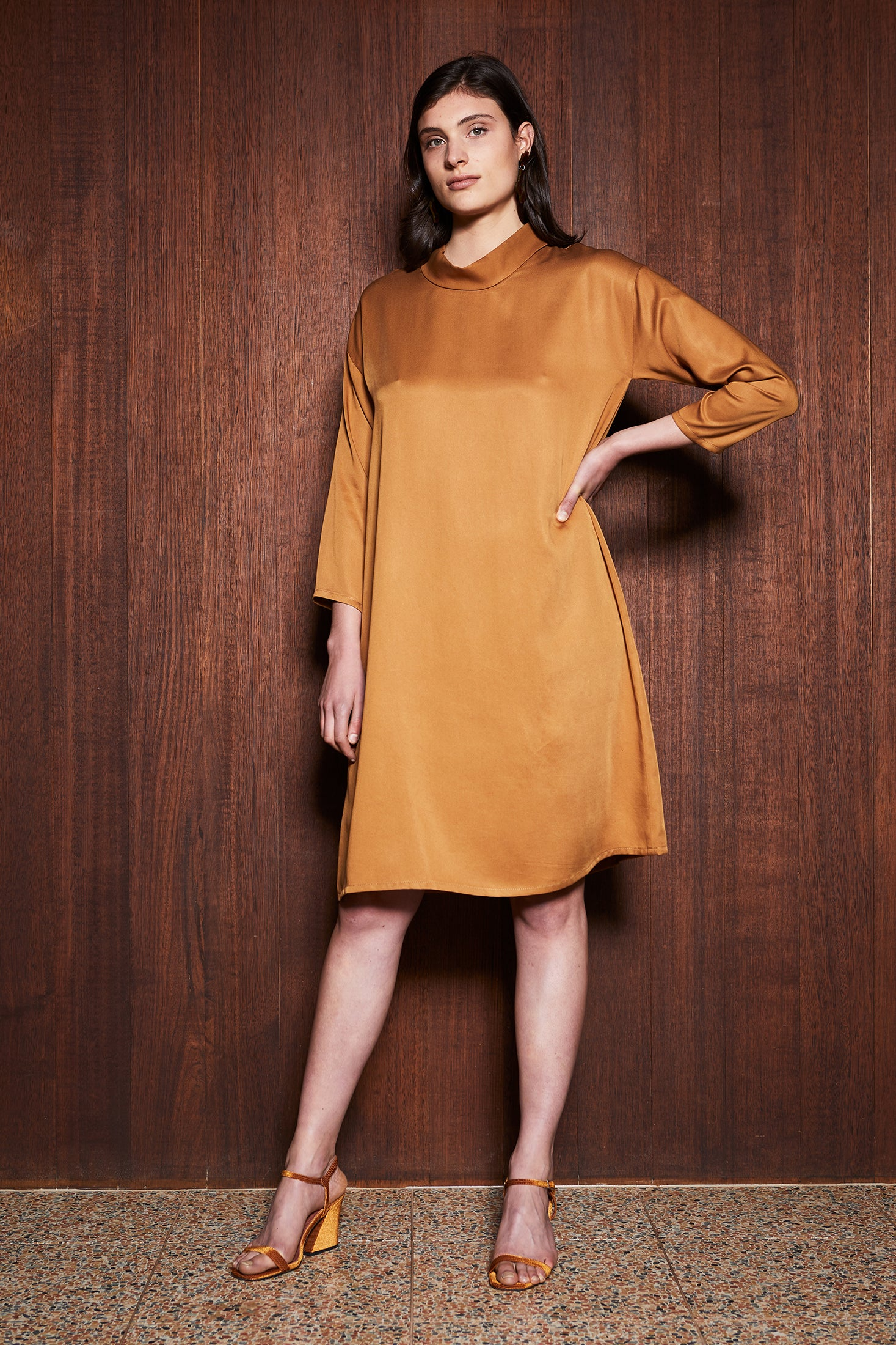 Women's Clothing in Melbourne Australia Leaf Litter Dress Mustard Gold Tencel Turtleneck