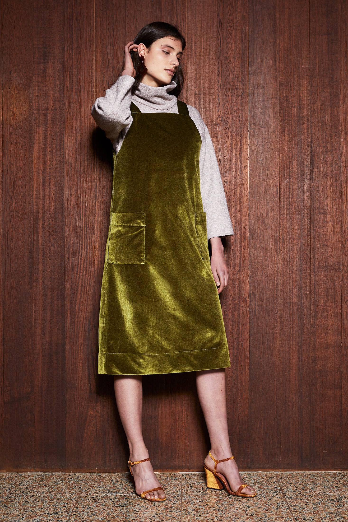 Women's Clothing in Melbourne Australia Moss Pinafore Green Velvet Dress