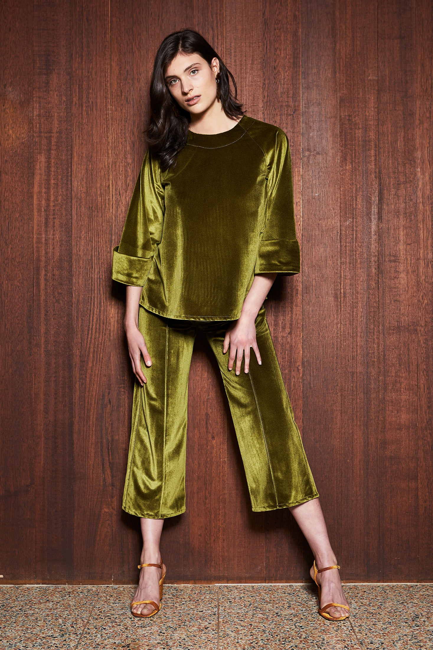 keegan Australian made Women's Clothing in Melbourne Australia Moss Top Green Velvet