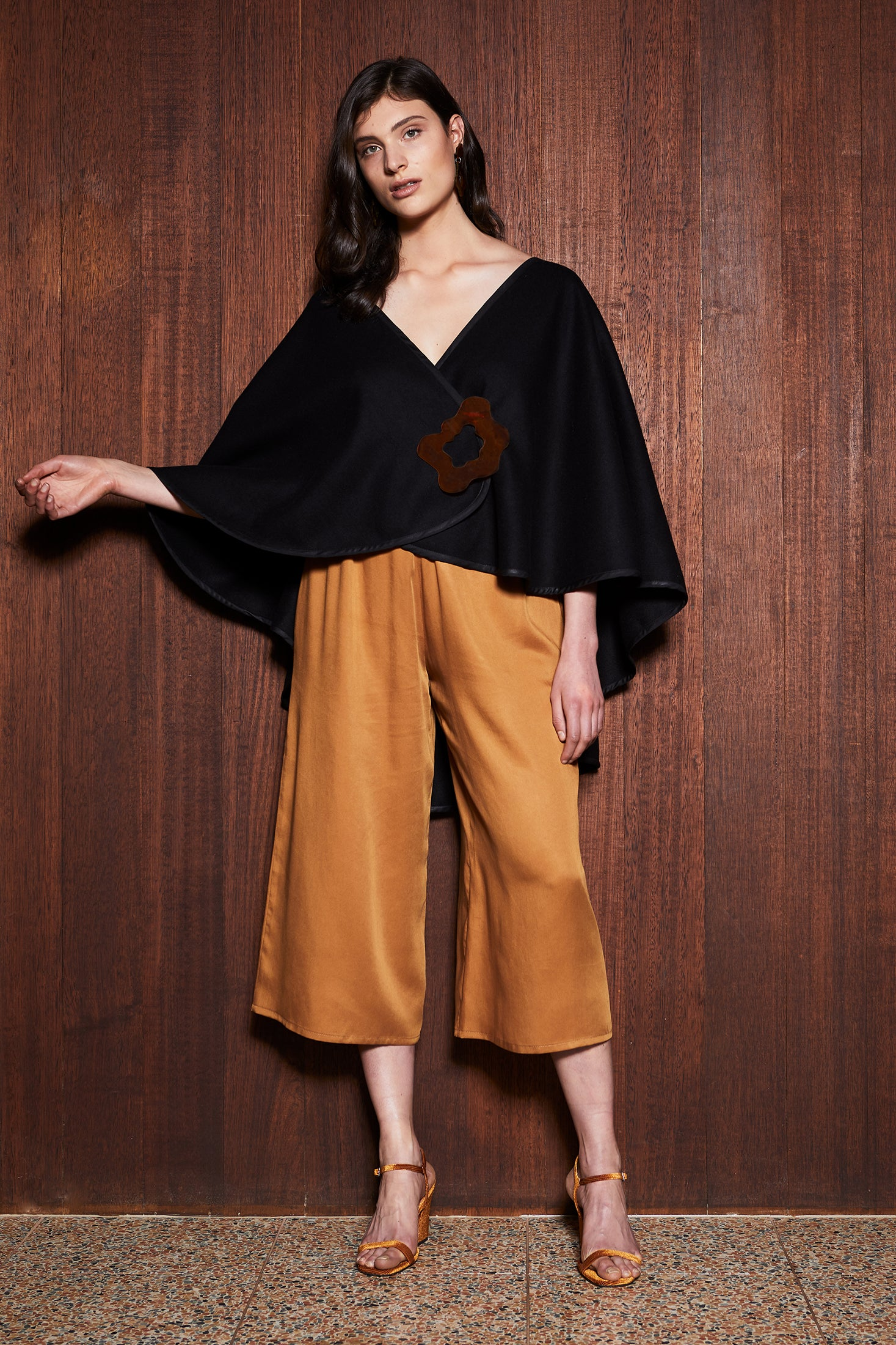 Women's Clothing in Melbourne Australia Shade Cape Black Poncho Wool Shawl