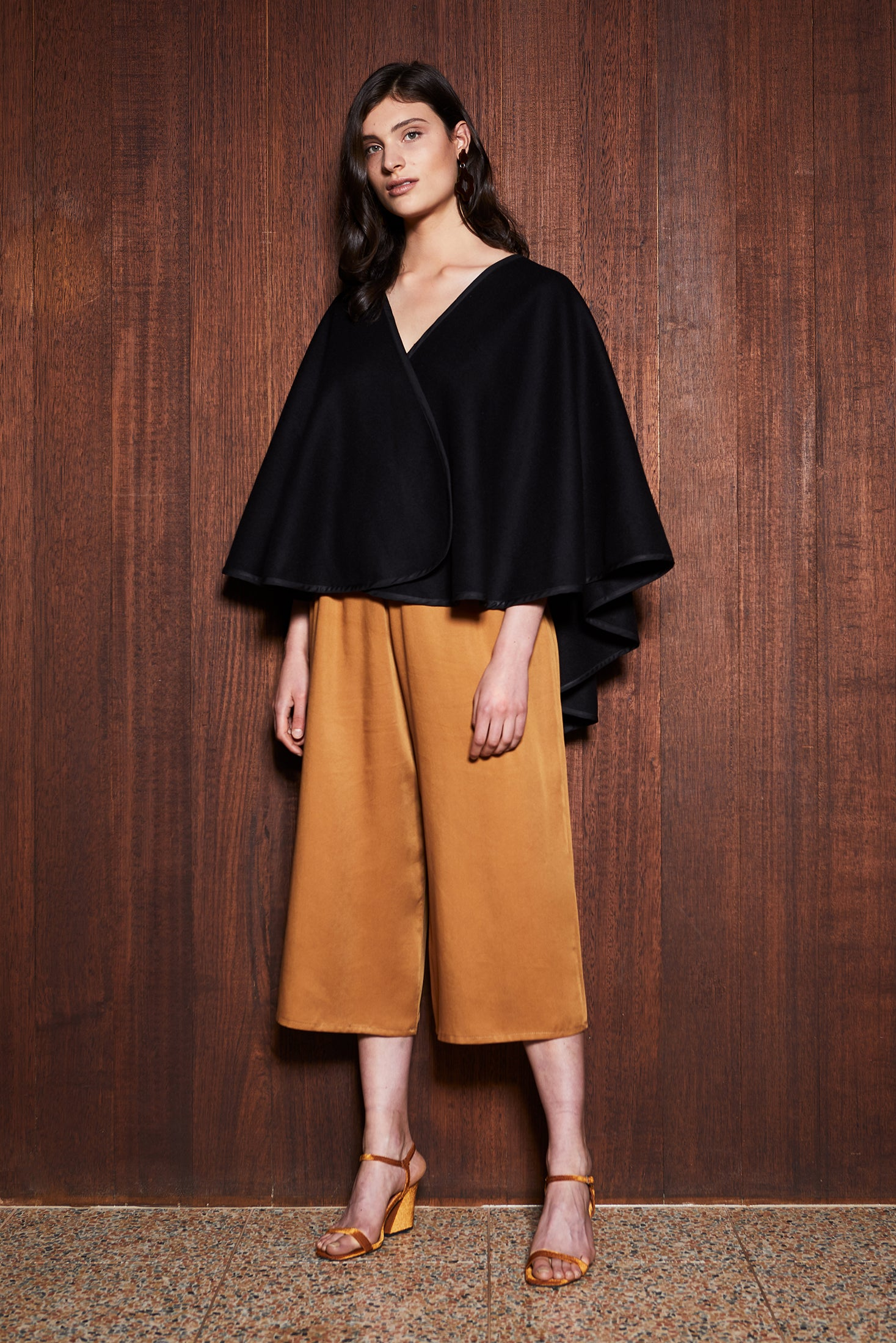 keegan Australian made Women's Clothing in Melbourne Australia Shade Cape Black Poncho Wool Shawl