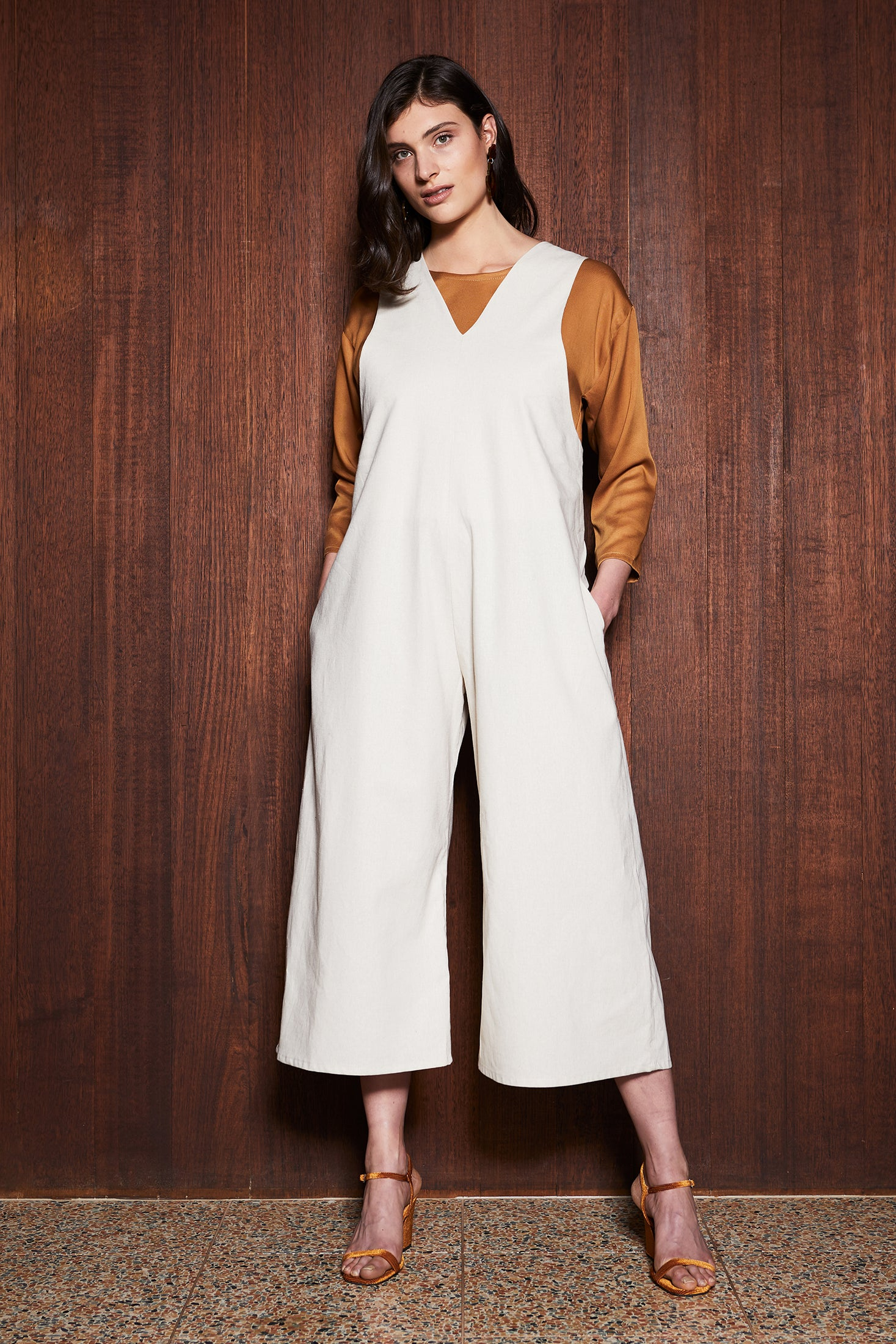 Women's Clothing in Melbourne Australia Truffle Jumpsuit Cream Natural Linen Tortoiseshell