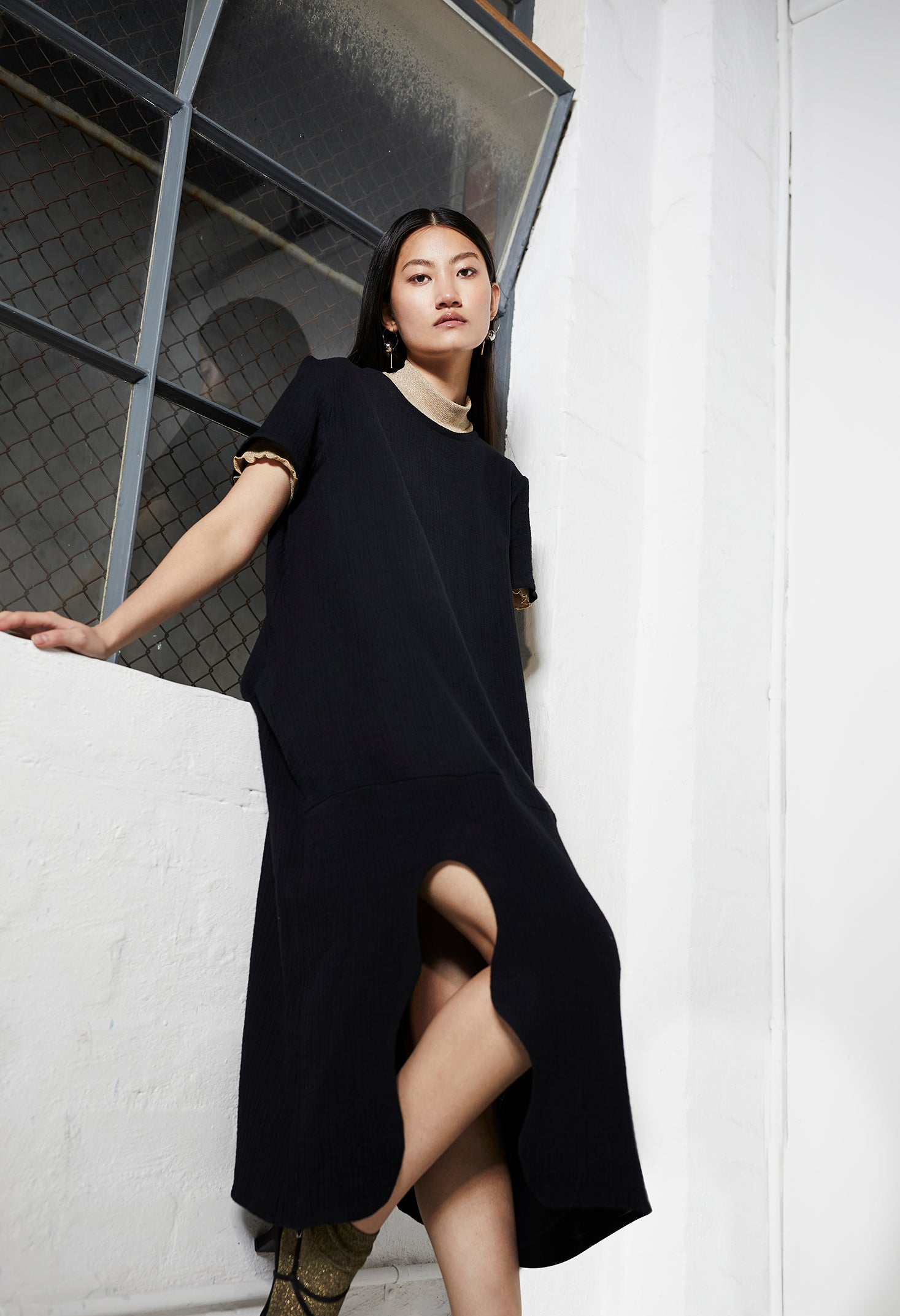 keegan ethical fashion. Clothing made in Melbourne, Australia. Black Cotton Dress