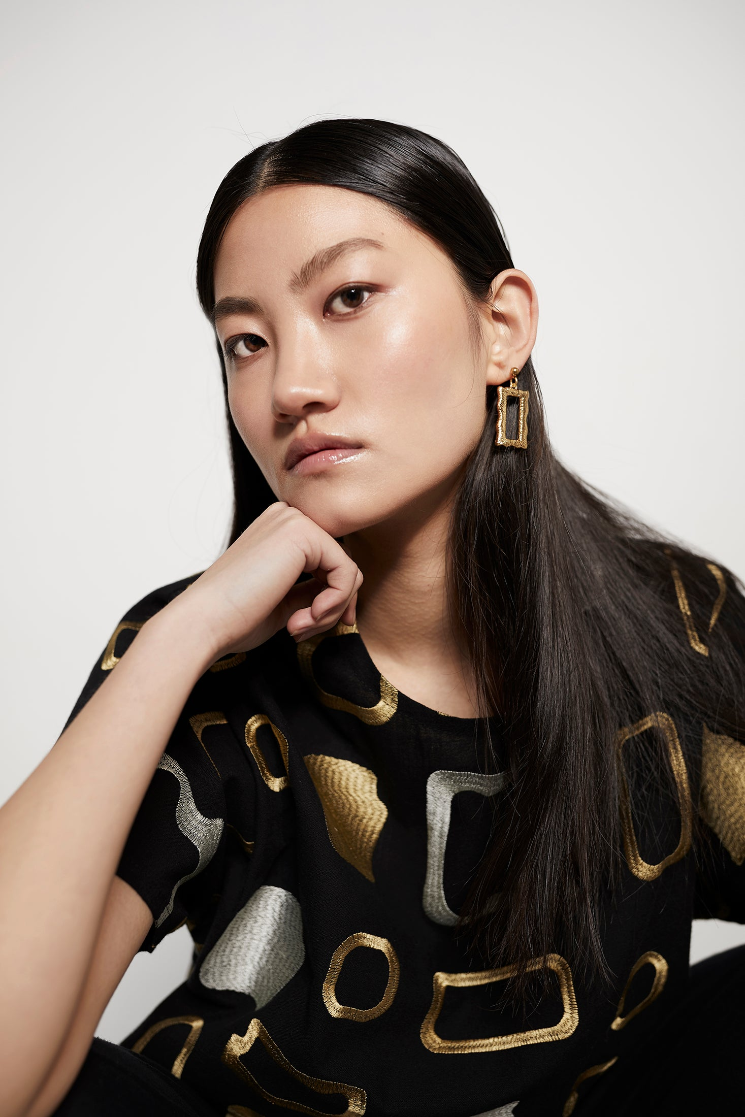 keegan ethical fashion. Clothing made in Melbourne, Australia. Gold retangle earrings
