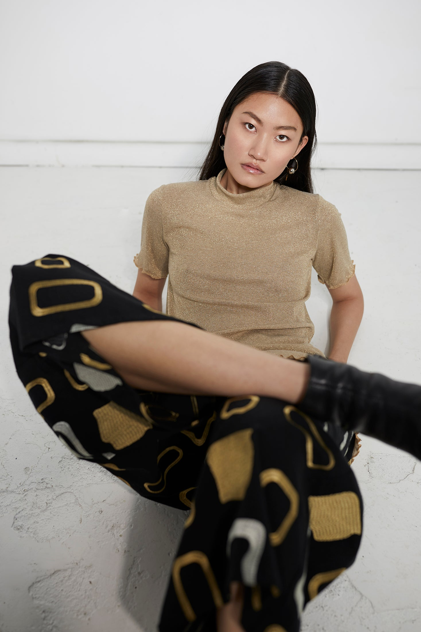 keegan ethical fashion. Clothing made in Melbourne, Australia. Gold Tshirt patterned culottes