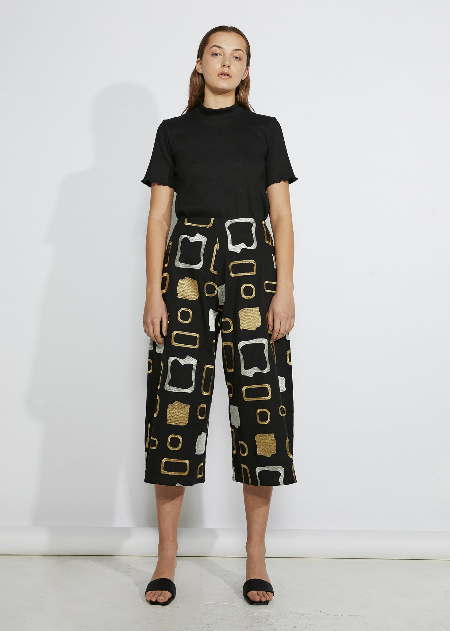 keegan heavy metal look book. Slow handmade fashion. Black tee gold silver patterned culotte pants