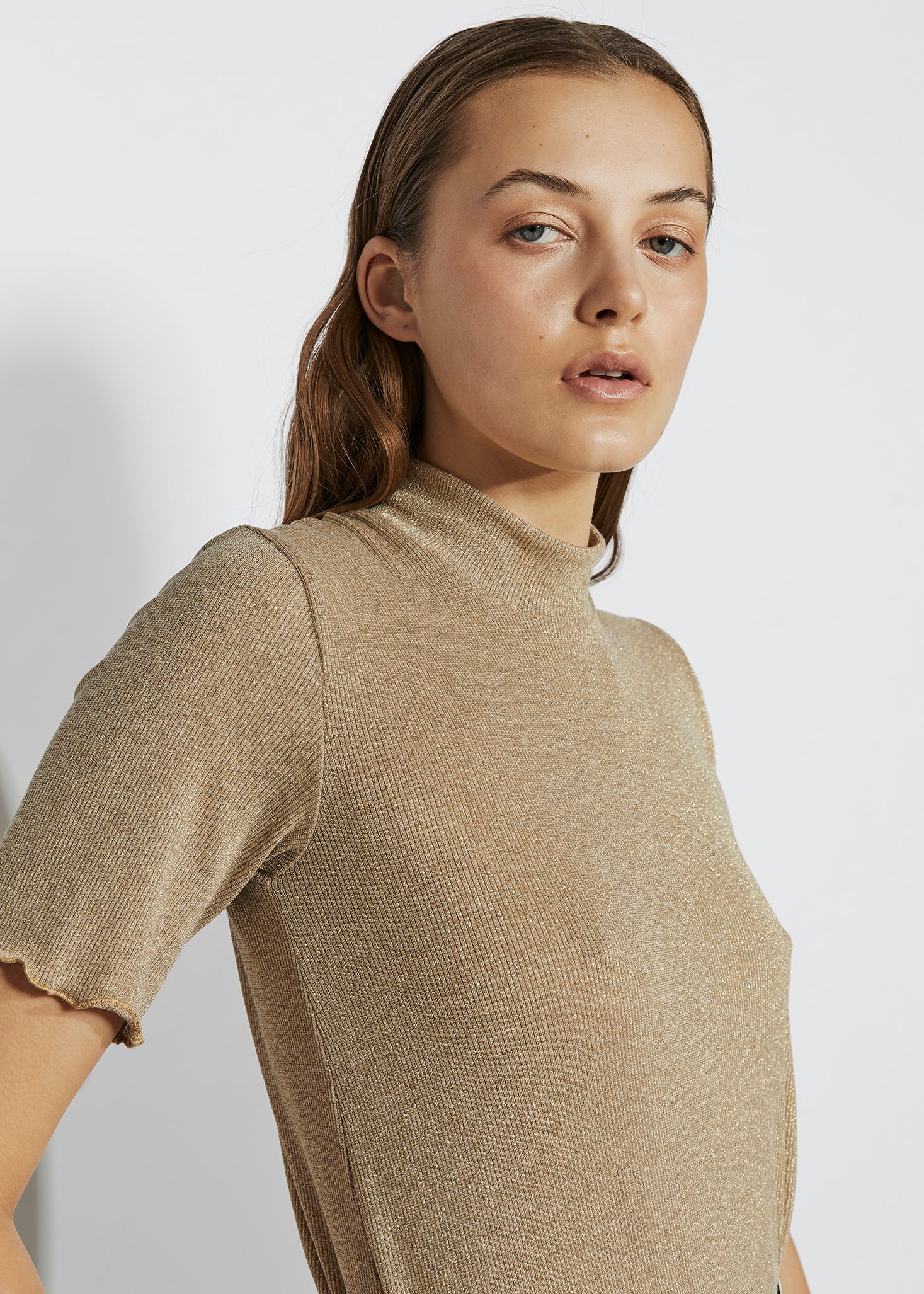 keegan heavy metal look book. Slow handmade fashion. Gold ribbed Tshirt