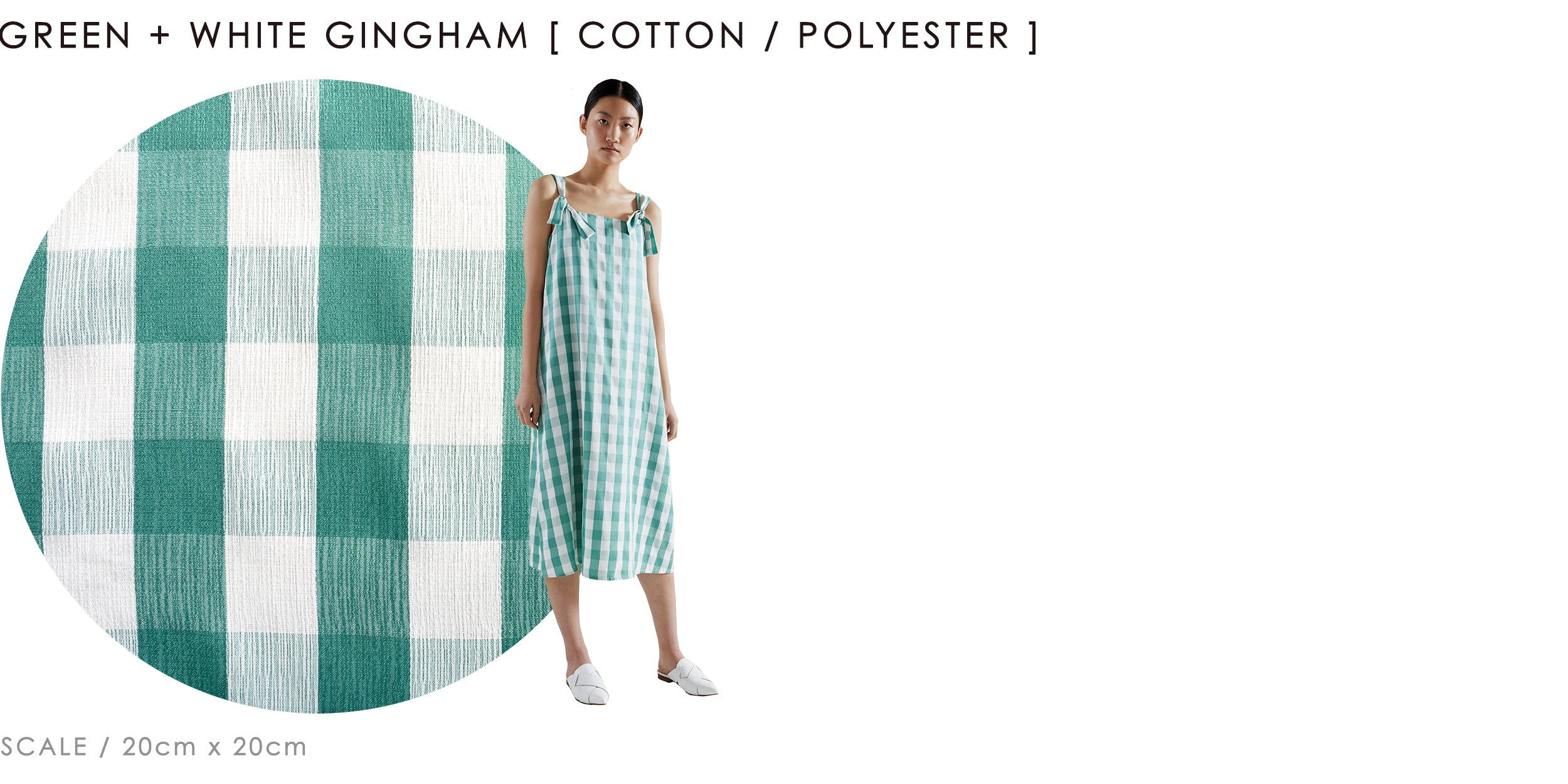 keegan green and white gingham fabric classics range cotton / polyester