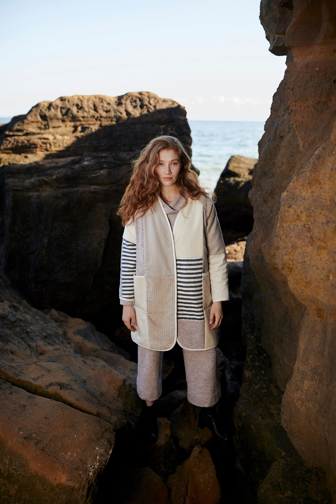 mosaic wool patchwork quilted coat by keegan the label