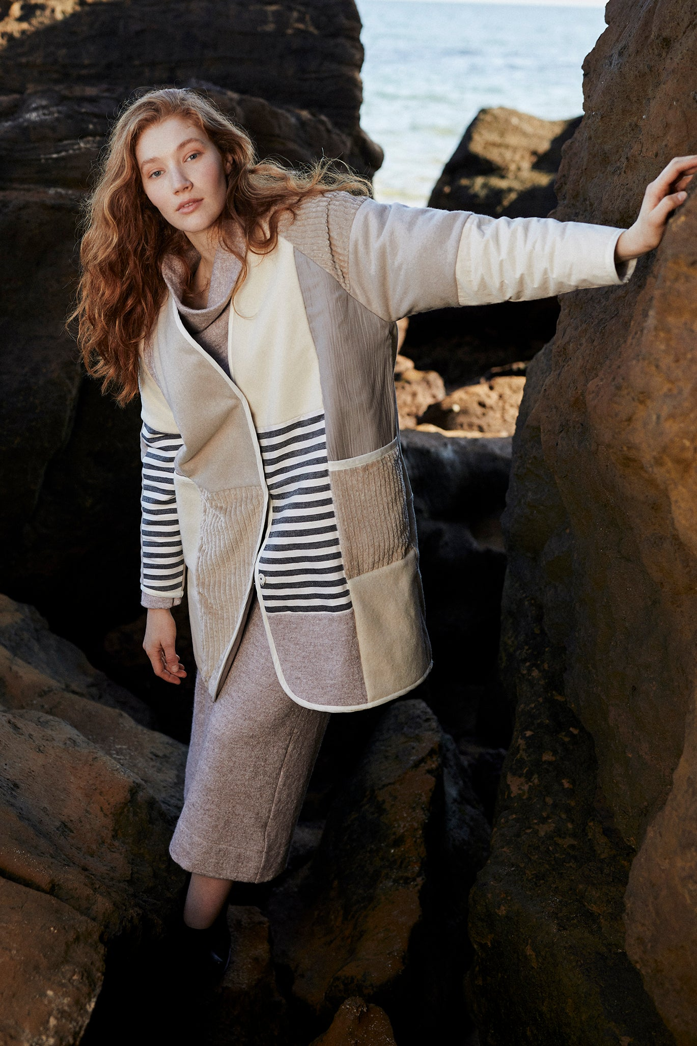 mosaic cream wool patchwork quilted coat by keegan the label
