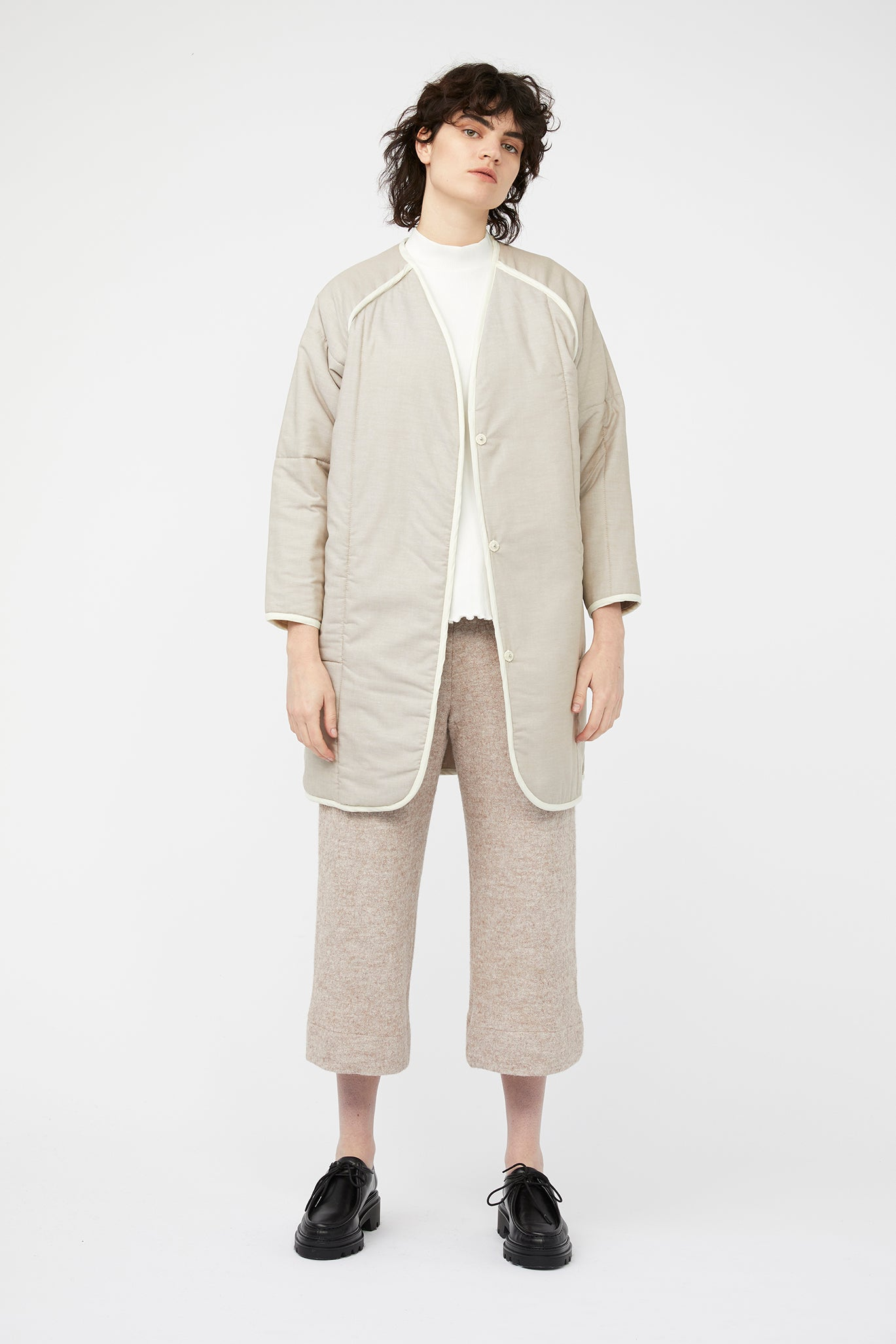 waste conscious patchwork quilted wool jacket beige