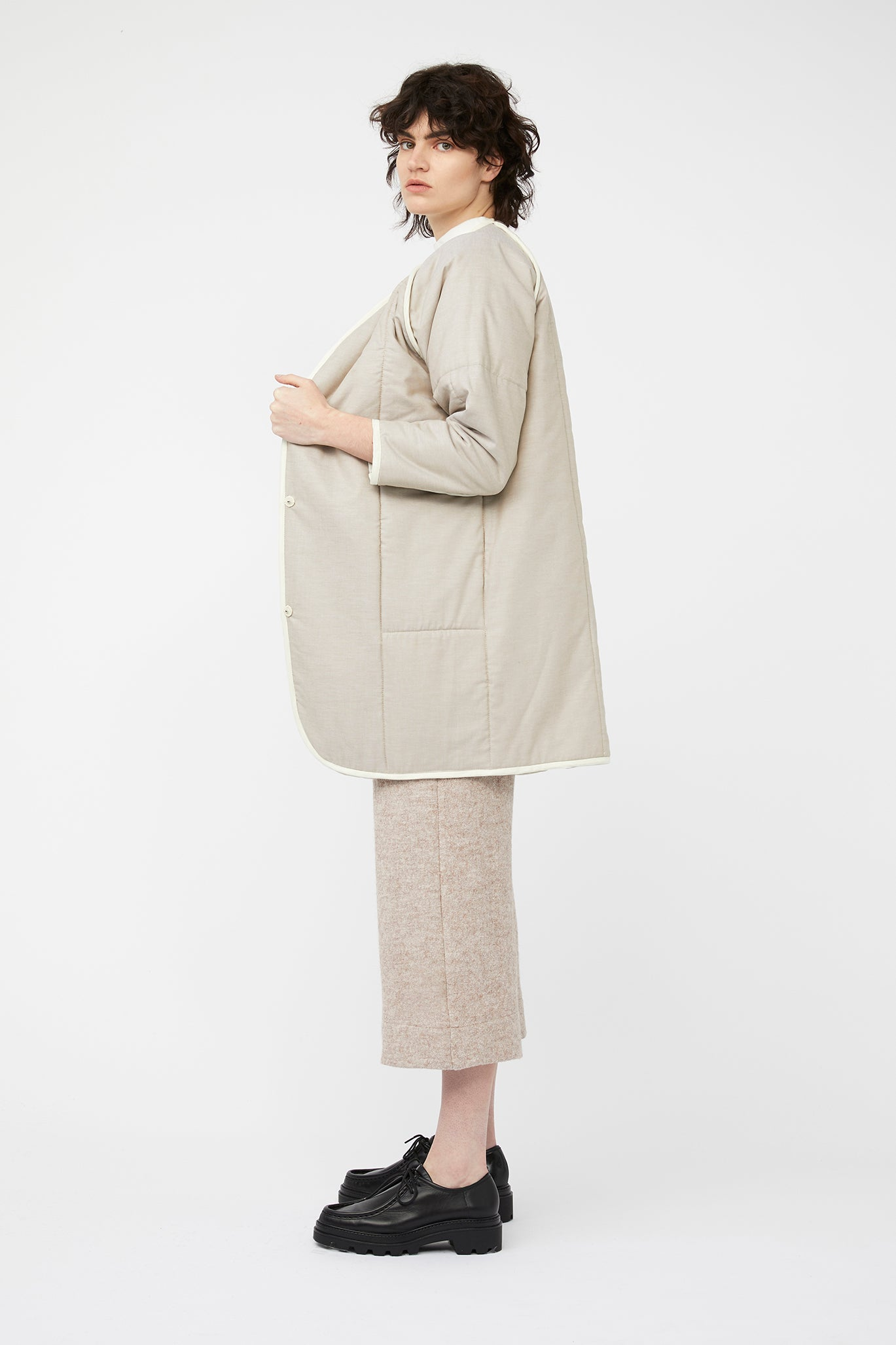 waste conscious patchwork quilted wool jacket neutral