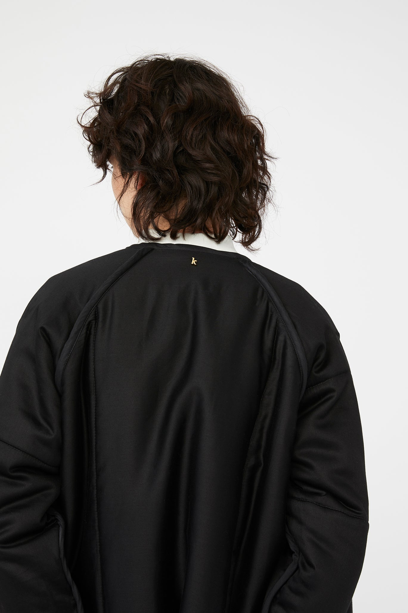 waste conscious patchwork quilted wool jacket black
