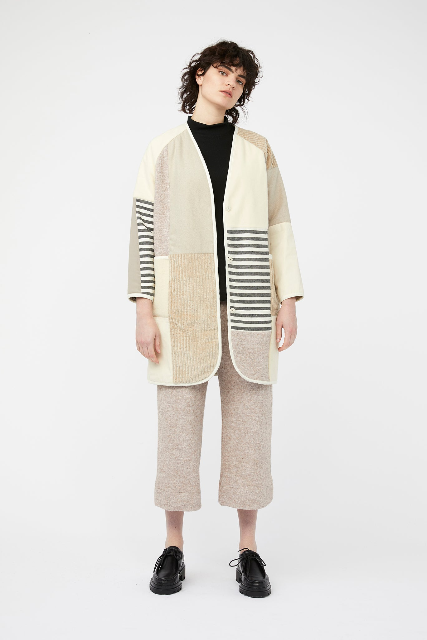 waste conscious patchwork quilted wool jacket cream