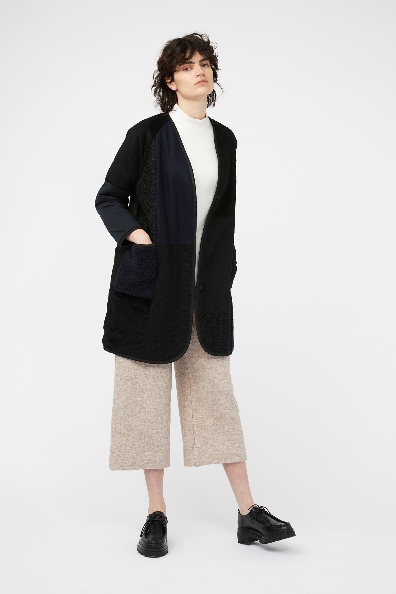 waste conscious patchwork quilted wool jacket navy