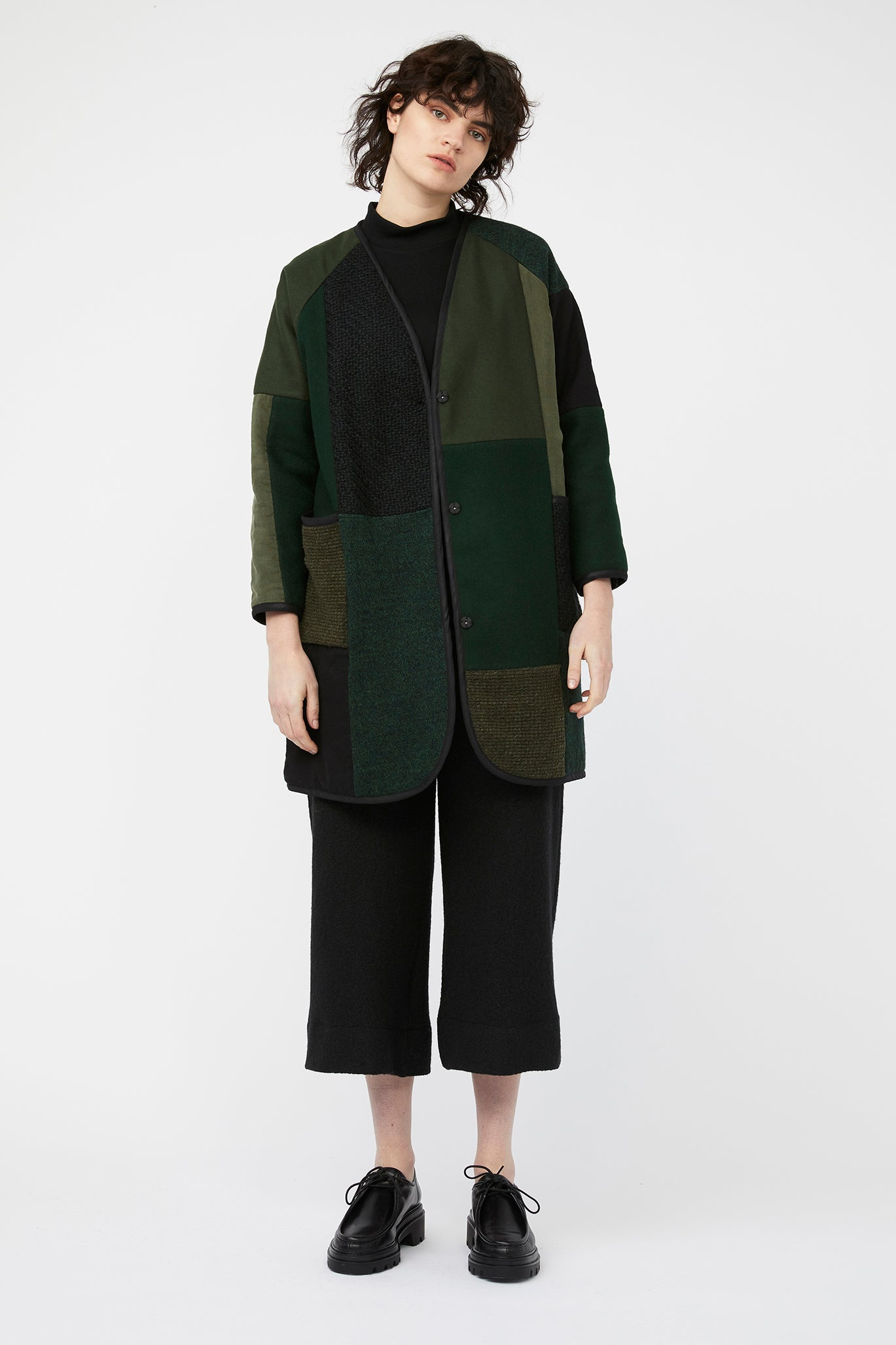 waste conscious patchwork quilted wool jacket green