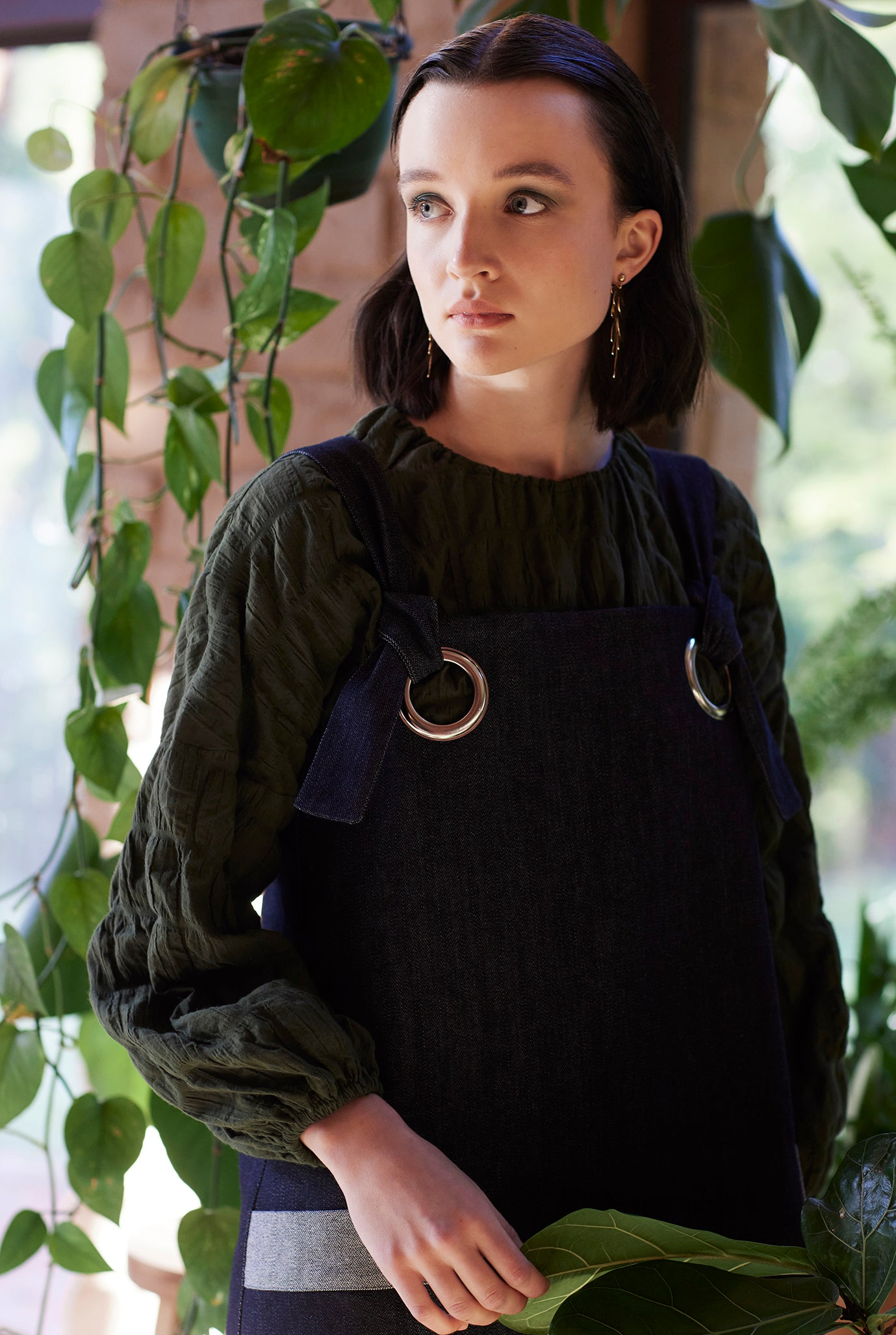 denim pinafore silver eyelets navy ethical fashion made in australia keegan the label