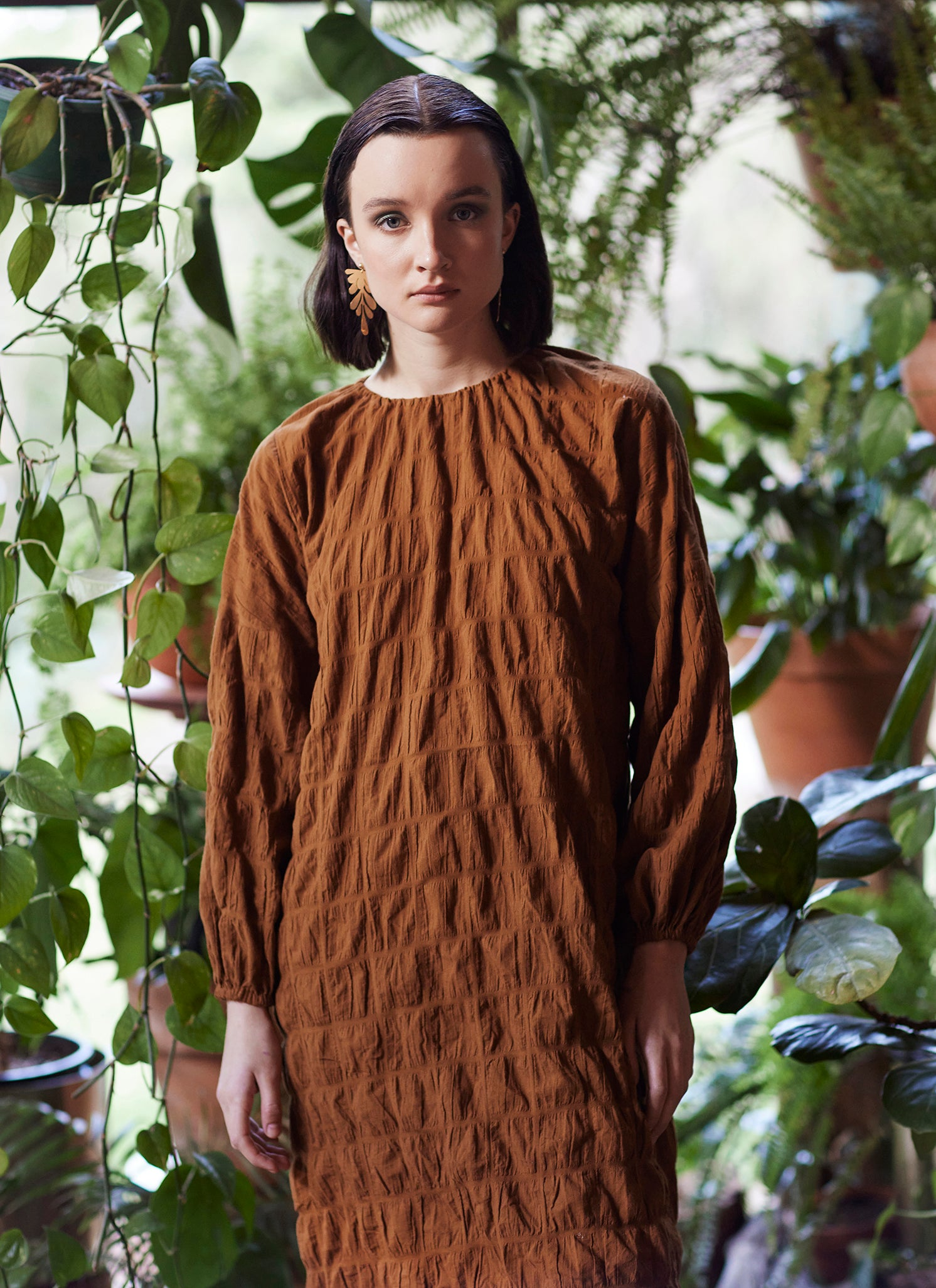 orange brown balloon sleeve dress plant conservatory campaign keegan the label