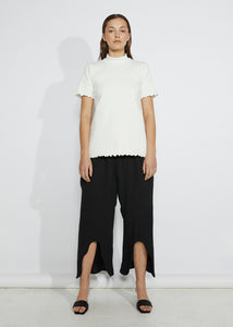 RIBBED MOCK NECK TEE [ WHITE ]