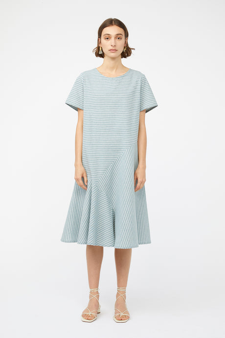 REFRACTION DRESS [ SAGE STRIPE ]