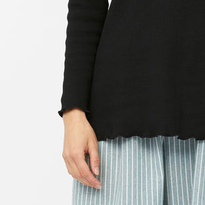 RIBBED MOCK NECK TOP [ BLACK ]