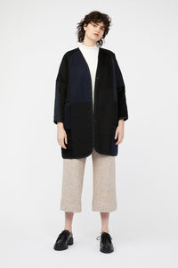 MOSAIC REVERSIBLE COAT [ NAVY / BLACK ]