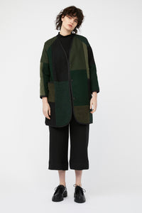 MOSAIC REVERSIBLE COAT [ GREEN / BLACK ]
