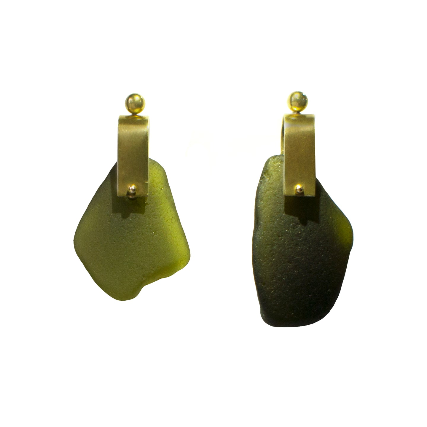 REFRACTION EARRINGS [ BOTTLE GREEN, LARGE  ]