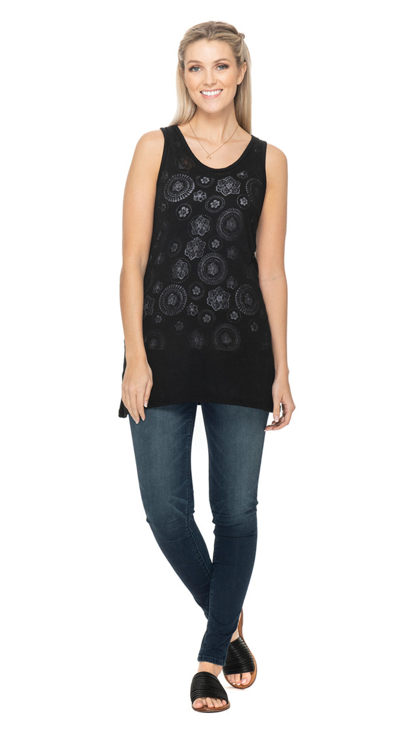 Burnout Sleeveless Tunic - black mandala