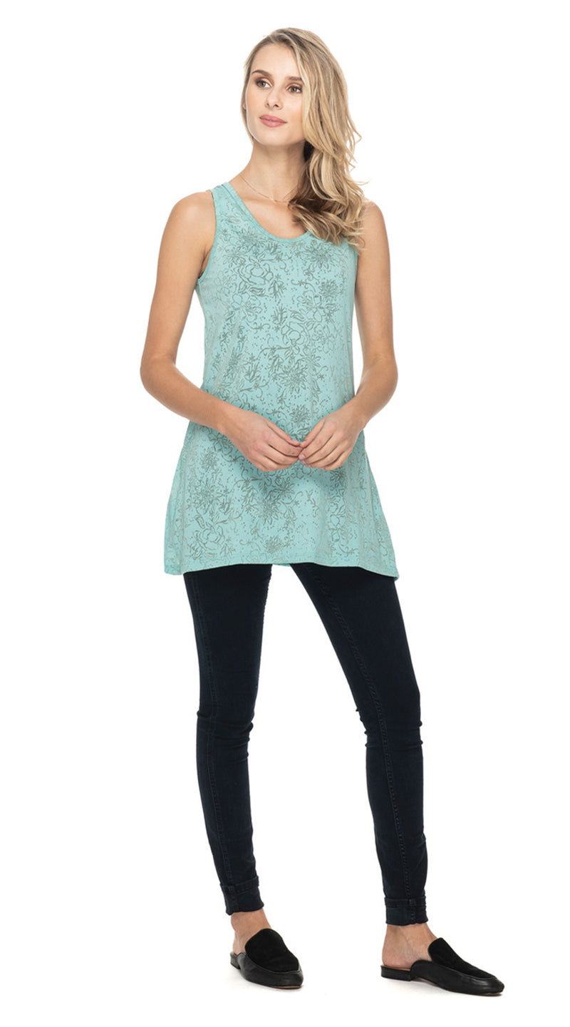 Burnout Sleeveless Tunic - ice floral