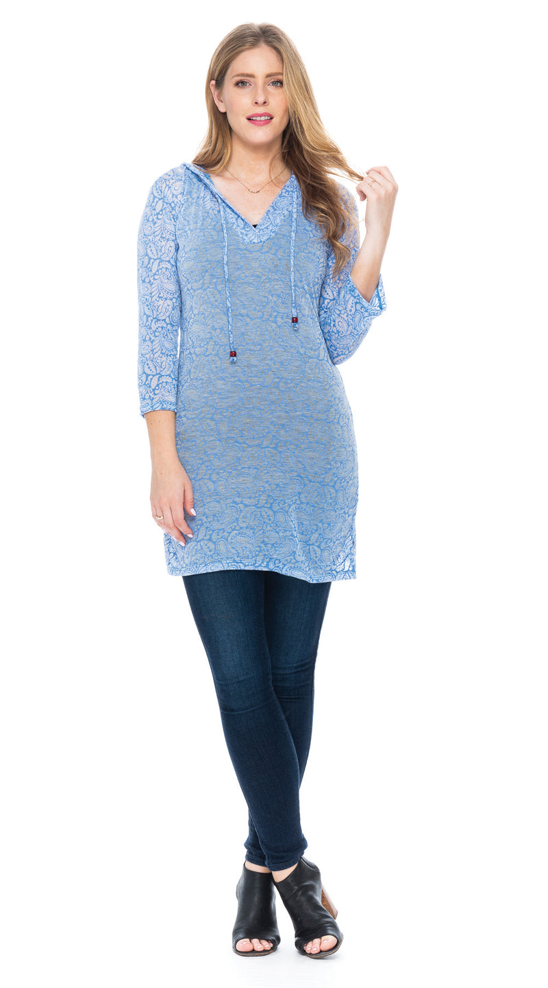 Burnout Layla Hoody - sky blue