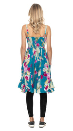 Swing Dress - cotton - blue cactus