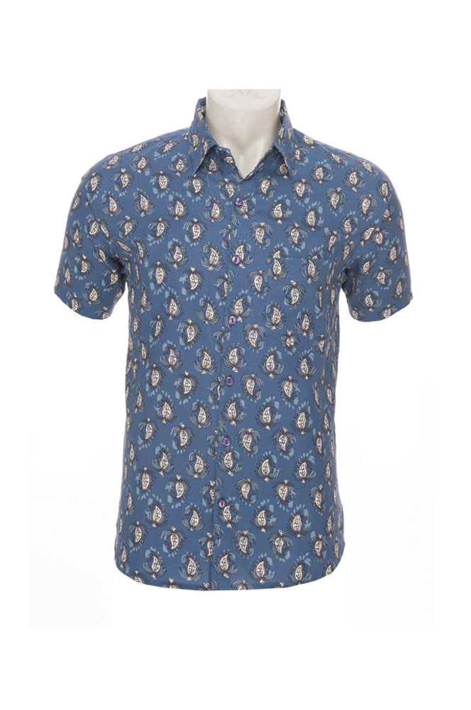 Men's Camino Shirt - blue blockprint - cotton