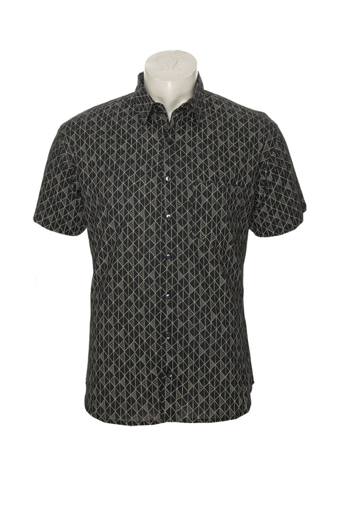 Men's Camino Shirt - black triangles - cotton