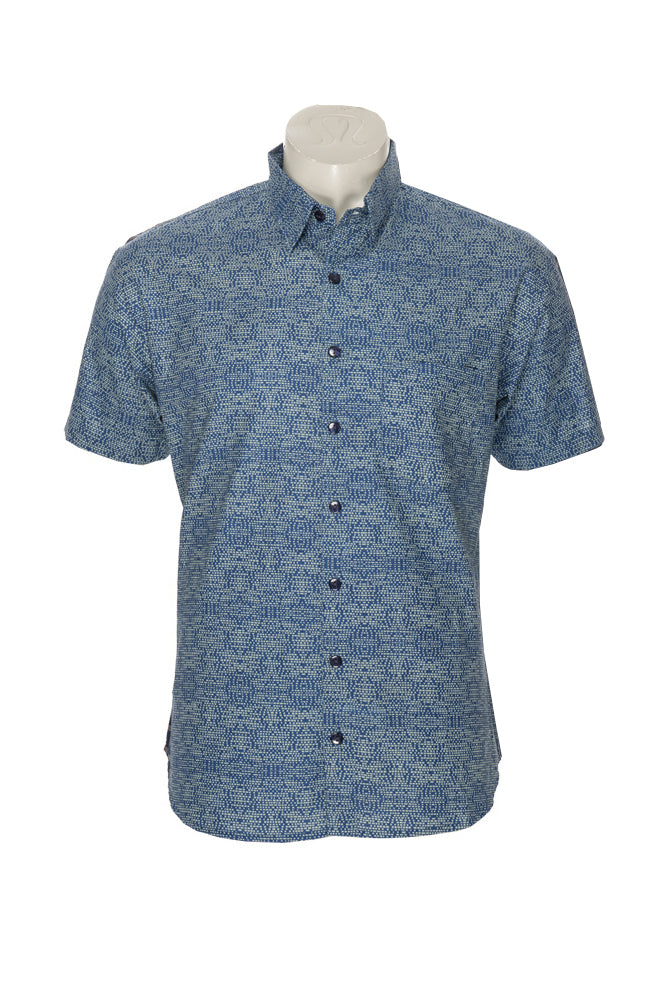 Men's Camino Shirt - blue matrix - cotton