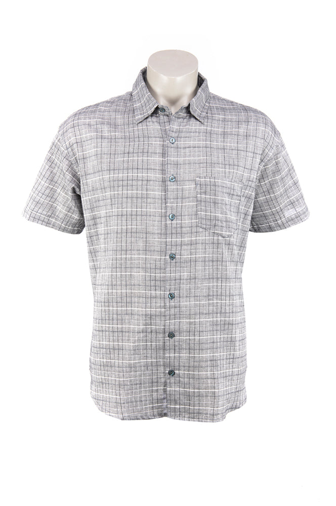 Men's Camino Shirt - grey handloom cotton