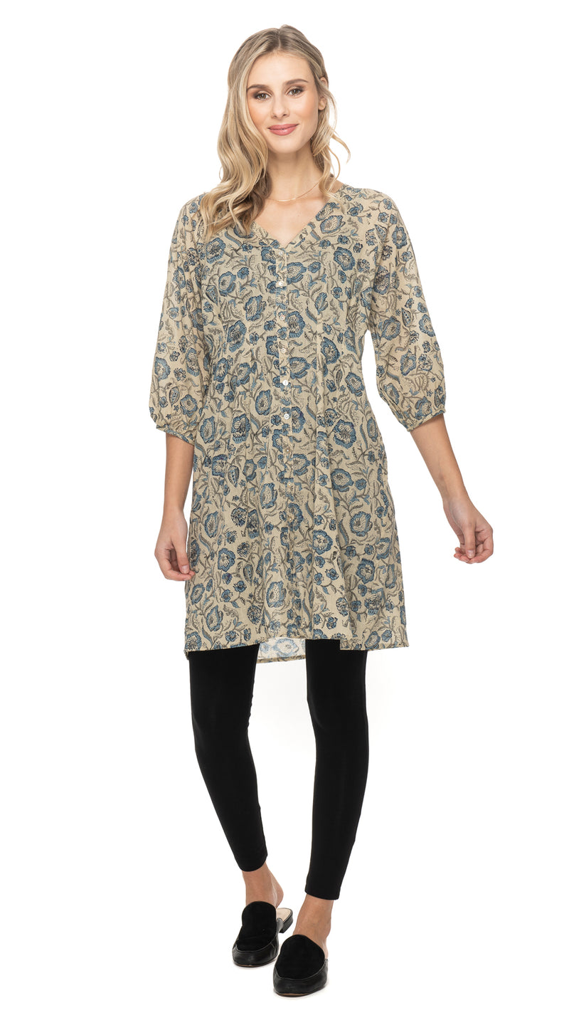 Sita Dress-cream blockprint-organic cotton